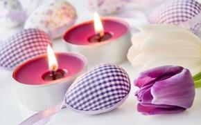 Картинка цветы, весна, свечи, Пасха, тюльпаны, happy, flowers, tulips, spring, Easter, eggs, delicate, decoration