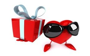 Картинка подарок, сердце, heart, gift, funny, rendering