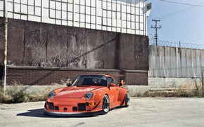 Картинка Porsche 911, coupe, orange, RWB, 1995, Widebody Kit