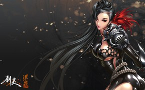 Обои game, artwork, Blade & Soul, digital art, boobs, girl, outfit, brunette, Jin Verrel, long hair, ...