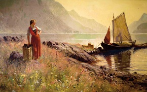 Картинка пейзаж, Норвегия, Norway, Hans Dahl, Möte på stranden, Встреча на берегу