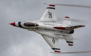 Обои Fighting Falcon, F-16C, кабина, полет, истребитель