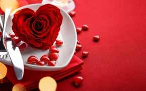 Картинка red, love, rose, background, romantic, hearts, bokeh, valentine's day