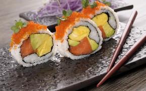 Картинка палочки, икра, суши, авокадо, лосось, омлет