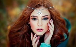 Картинка взгляд, лицо, волосы, портрет, руки, макияж, украшение, Ольга Бойко, Александра Гирская
