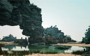 Картинка скала, здания, водоём, поселение, Hidden