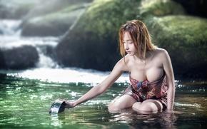 Обои азиатка, река, девушка