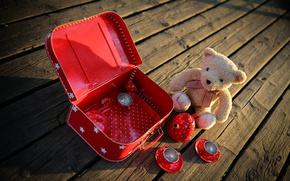 Картинка игра, игрушки, доски, мишка, посуда, чемодан, плюшевый