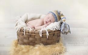 Картинка корзина, сон, мальчик, шапочка, младенец