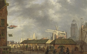 Картинка картина, городской пейзаж, Johannes Jelgerhuis, Небольшой Рыбный Рынок в Амстердаме