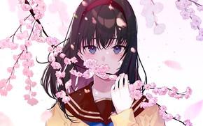 Картинка взгляд, девушка, цветы, арт, kayahara