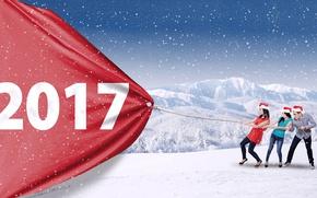 Обои зима, снег, пейзаж, снежинки, красный, девушки, праздник, две, кеды, джинсы, веревка, канат, туфли, Новый год, ...