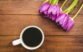 Картинка цветы, кофе, букет, чашка, тюльпаны, wood, flowers, cup, tulips, purple, coffee
