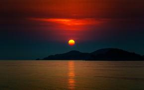 Картинка море, небо, солнце, закат, горы