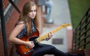 Обои боке, взгляд, девушка, гитара, волосы