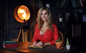 Обои прожектор, грудь, девушка, локоны, Dmitry Arhar, улыбка, книги, взгляд