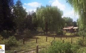 Картинка лес, природа, ограда, строение, old road