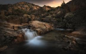 Картинка река, камни, скалы, водопад