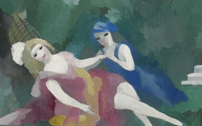 Картинка Две девушки, подружки, 1925, Модерн, Marie Laurencin, белый бант