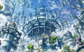 Картинка город, замок, аниме, арт