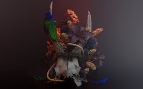 Картинка череп, арт, рога, Reborn, композиция, Rafael Merino