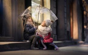 Картинка дети, улица, зонт, streets of Warsaw