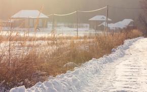 Картинка зима, дорога, снег, природа, деревня, солнечно, зимний вечер, зимнее солнце
