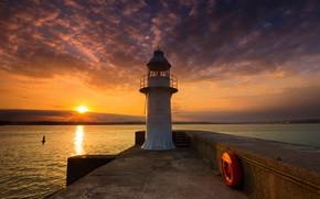 Картинка море, закат, Англия, маяк Берри-Хед