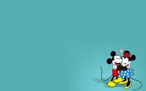 Картинка шорты, юбка, объятия, туфли, хвост, перчатки, шляпка, уши, мыши, Микки, Микки Маус, обнимашки, Минни, Маус, …