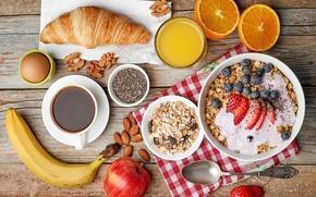 Картинка ягоды, кофе, апельсин, завтрак, фрукты, орехи, круассан, мюсли