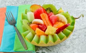 Картинка яблоко, киви, вилка, банан, дыня, фруктовый салат