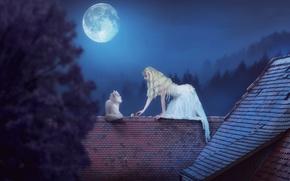 Обои на крыше, ночь, девушка, луна, белая кошка, мышь, крыши, ситуация