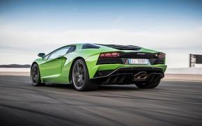 Картинка green, Lamborghini, вид сзади, 2017, Aventador S