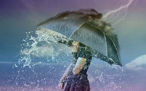 Картинка девушка, дождь, молния, ситуация, зонт