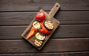 Картинка Овощи, Доска, Гриль