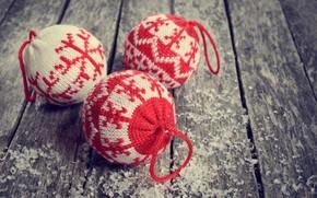 Картинка снег, украшения, шары, игрушки, шерсть, Новый Год, Рождество, happy, Christmas, vintage, wood, snow, New Year, …
