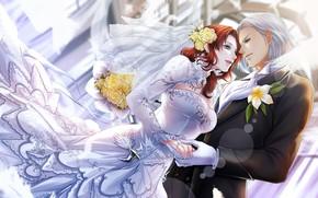 Картинка девушка, романтика, арт, парень, двое, final fantasy xiv, анмие