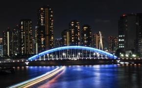 Картинка ночь, мост, огни, здание