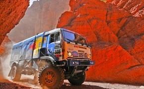 Обои Дакар, Dakar, Спорт, Kamaz, Скалы, Авто, Камаз, Rally, Мастер, 506