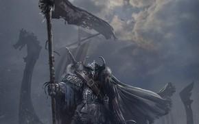 Картинка корабль, меч, воины, Llegada