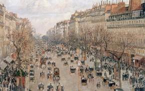 Картинка люди, улица, дома, картина, городской пейзаж, Camille Pissarro, Бульвар Монмартр в Париже, Камиль Писсарро