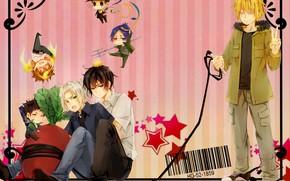 Картинка аниме, арт, парни, Reborn, Sawada Tsunayoshi, Rokudou Mukuro, Katekyo Hitman REBORN!, Barcode, Hibari Kyoya, Gokudera …