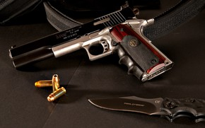 Обои пистолет, кастом, М1911, gun, тюнинг, custom, knife, нож, 1911, M1911, weapon, патроны, оружие