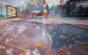 Картинка авто, осень, пузыри, дождь, зонт, набережная