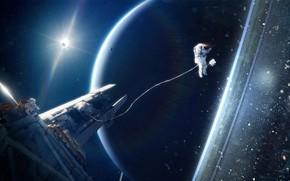 Картинка планета, космонавт, открытый космос, Tobias Roetsch, neptune, космическиё аппарат