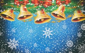 Картинка Зима, Минимализм, Снег, Новый Год, Рождество, Колокольчики, Снежинки, Фон, Украшения, Праздник, Настроение