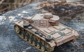 Картинка фон, игрушка, моделька, немецкий средний танк, PzKpfw III, Panzer III