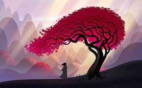 Картинка art, leaves, tree, hills, man, artwork, Samurai, branches, kimono