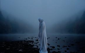 Картинка туман, река, фигура, простыня