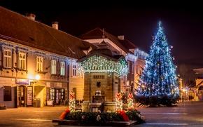 Картинка ночь, город, огни, новый год, дома, площадь, фонари, ёлка, гирлянды, Хорватия, Загреб, Samobor